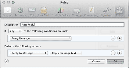 Mac Mail Rules Box