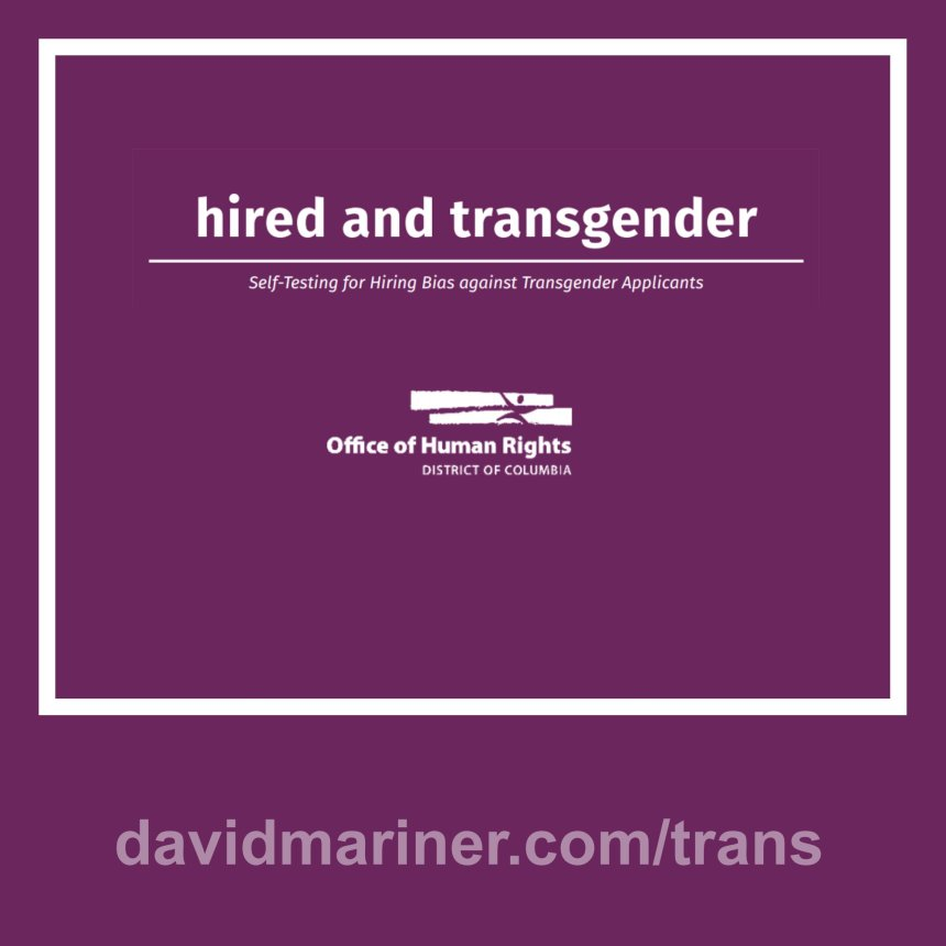 Hired and Transgender: Self-Testing for Hiring Bias against Transgender Applicants