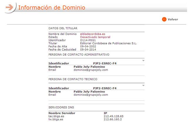 """Al diario """"el día de Córdoba"""" se le olvida renovar el dominio y se queda offline"""