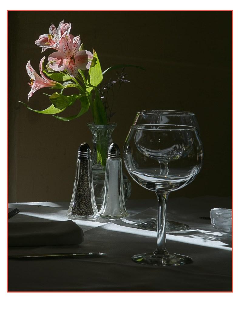 Walt Duvall wine glass and flowers