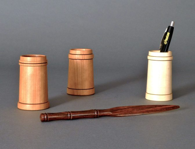 Cherry & maple pencil pots with cocobolo letter opener