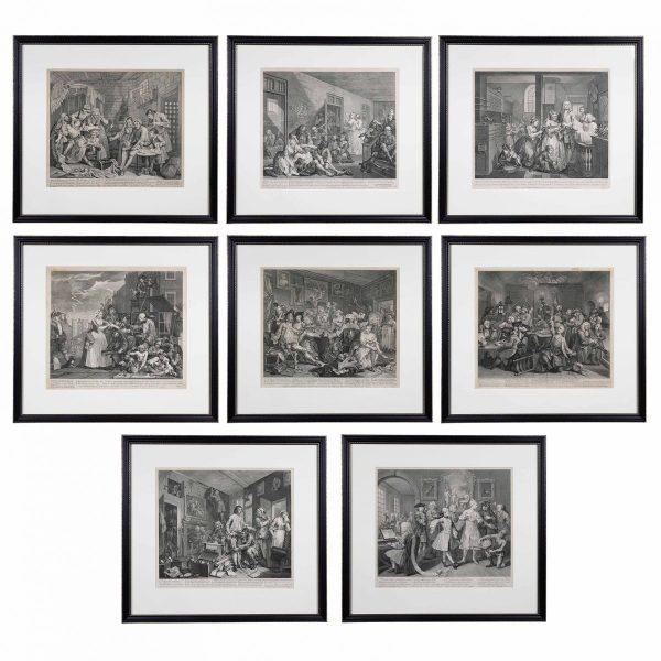 William Hogarth, Complete Set of Eight Engravings of 'The Rakes Progress'.