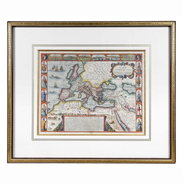 Framed Map of Roman Empire dated 1626. Depicting the Roman Empire. Hand colored. In good condition.