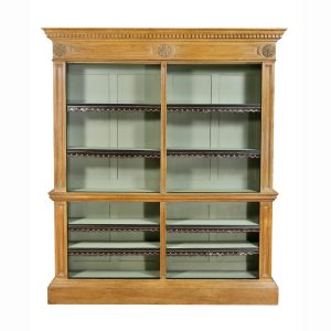George III pine bookcase in two sections