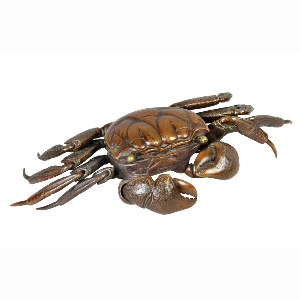 Japanese Meiji Articulated Bronze Crab. Wonderful patina and fully articulated. Purchased in London by previous owner.