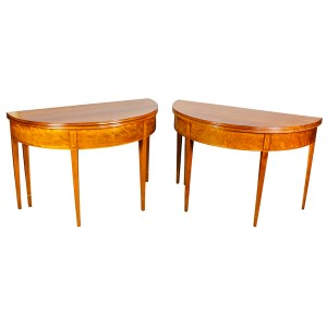 Matched Pair of Swedish Neoclassic Cherrywood Games Tables
