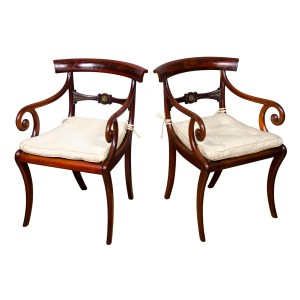 Pair of Regency Mahogany and Brass Mounted Armchairs