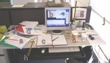 grad student desk with labels