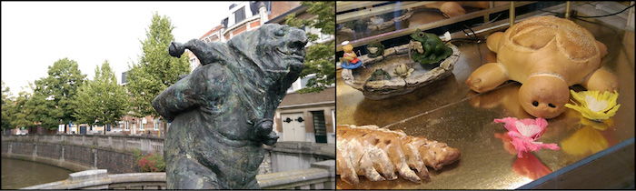 Leuven sculpture (left) and a bread turtle (right).