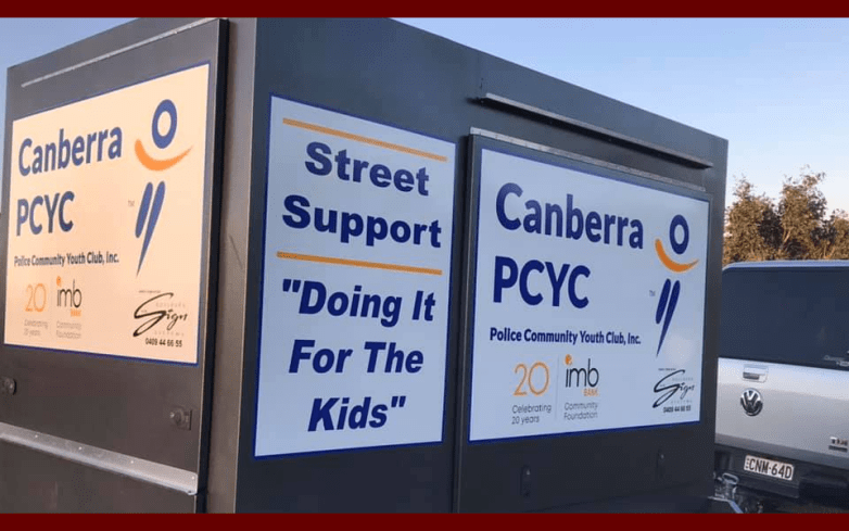 Canberra PCYC trailer and signage