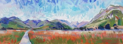 Painting of Pike of Blisco Bow Fell and Pike of Stickle