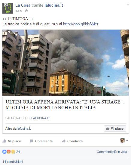 Lo screen del post Facebook