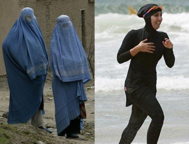 Il burqa (sinistra) e il burkini (a destra)