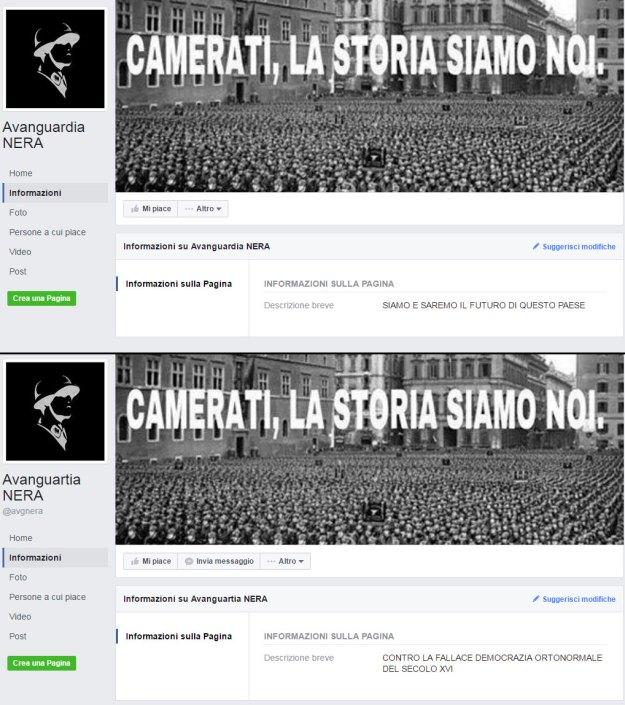 """In alto """"AvanguarDia Nera"""", in basso la pagina che trolla"""