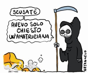 La vignetta di Natangelo con la Morte che chiede scusa