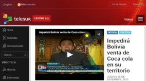 Choquehuanca a Telesur per parlare di Coca Cola, ma era il 2012