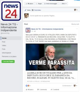 La pagina Facebook che condivide gli articoli del sito associato al mondo pentastellato