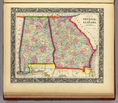 County Map Of Georgia  And Alabama    Mitchell  Samuel Augustus   1860