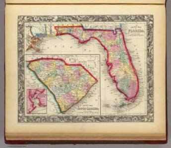 County Map Of Florida    Mitchell  Samuel Augustus   1860