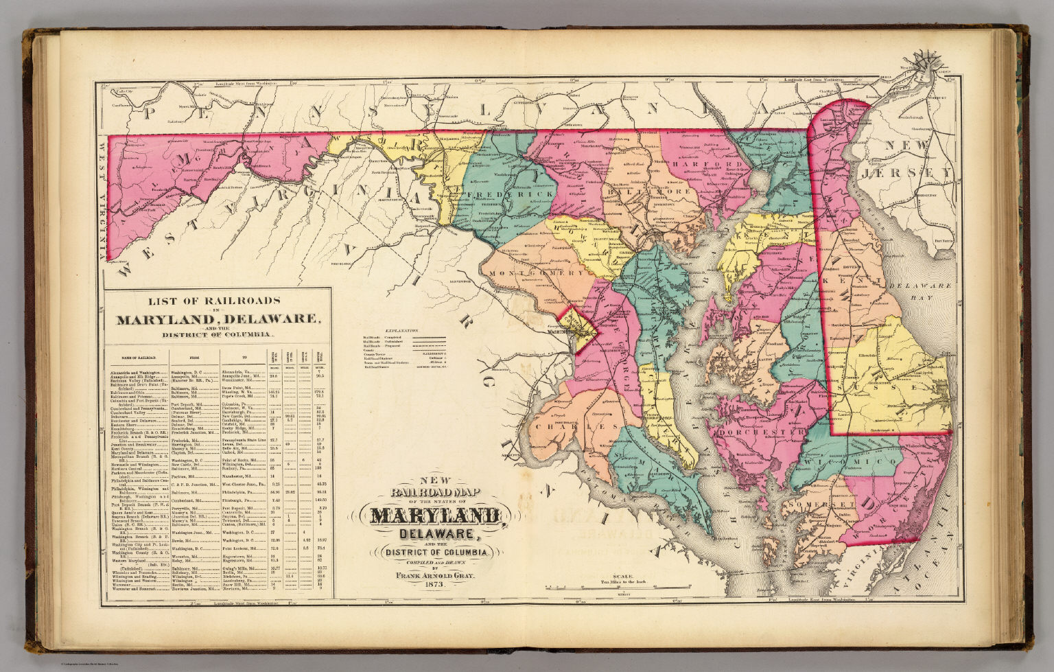 New railroad map of the states of Maryland  Delaware    District of     New railroad map of the states of Maryland  Delaware    District of  Columbia    Gray  Frank Arnold   1873