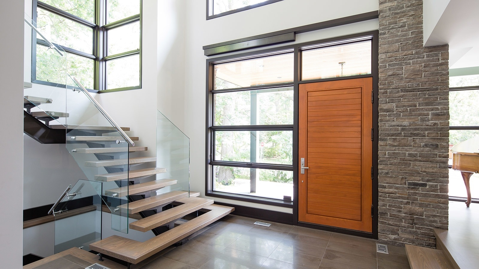 David S House Custom House Design Portfolio Gallery   Home Front Staircase Design   Entrance Front Door Stair   Home Jina   Ghar   Roof Railing Brick   Outer Wall