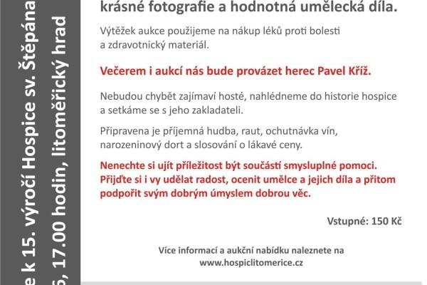 Hospic sv. Štěpána, Litoměřice. Společenský večer s aukcí k 15. výročí založení