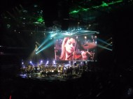 Violinist Shawna Trost is featured on the big screen at a Star Wars in Concert performance.