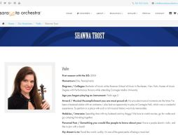An image from the Sarasota Orchestra website, showing a brief bio and pic of violinist Shawna Trost.