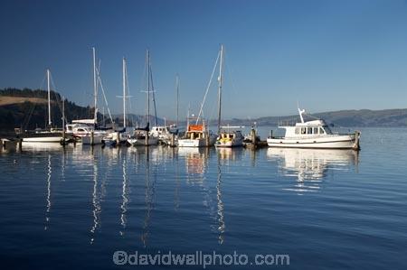 Moored Boats Deborah Bay Otago Harbour Port Chalmers Dunedin South Island New Zealand