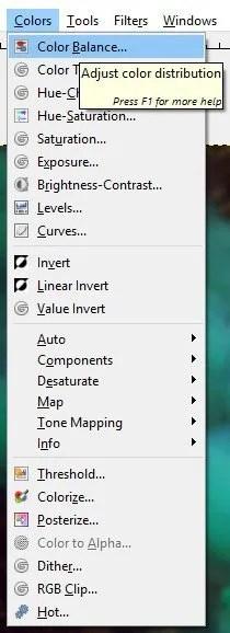 GIMP 2.9.8 Color Balance Tool
