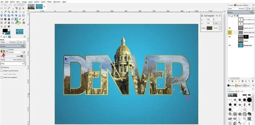 Golden gradient GIMP tutorial