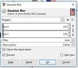 Primijenite Gaussian Blur na grafički sloj
