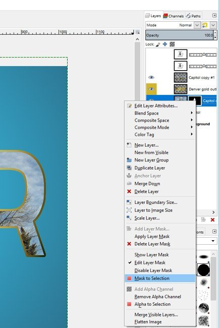 A GIMP-kép kiválasztásának maszkja a szöveges bemutatóban