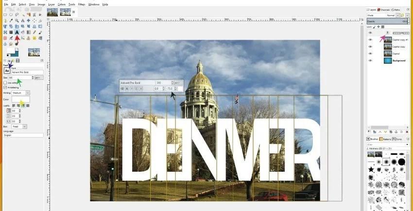 Szöveges eszköz GIMP 2.9.8