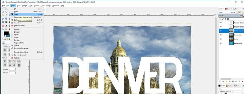 Select Invert GIMP Photo in Text Tutorial