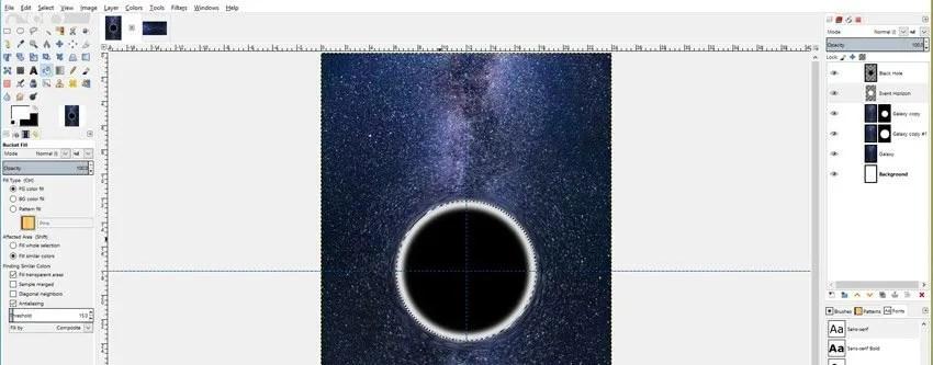 Töltse ki az esemény Horizon Ellipse-t a fehérre