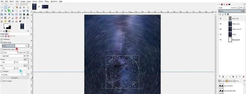 Használja az Ellipse Select eszközt a fekete lyuk elindításához