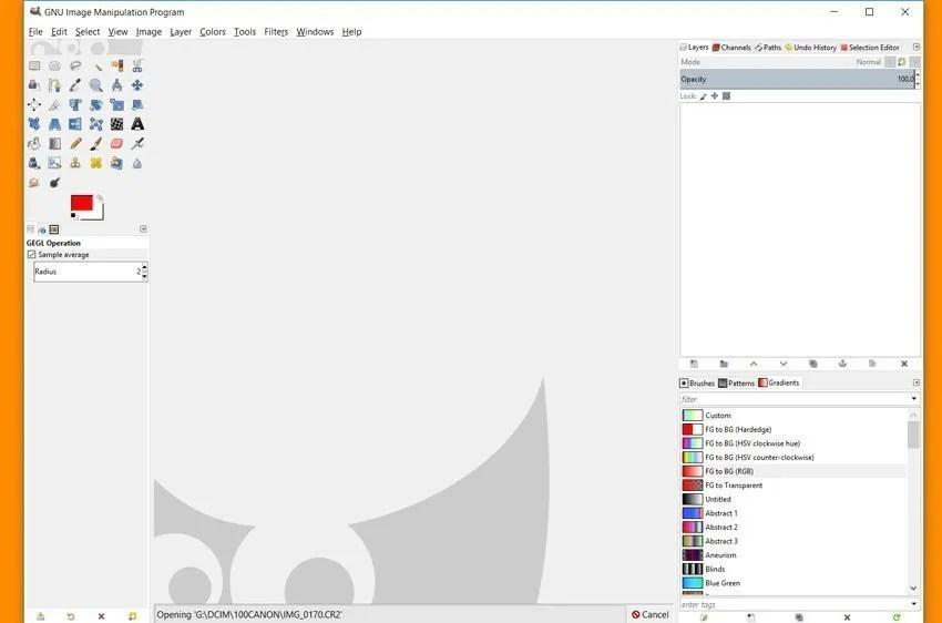 Disposición del modo de ventana única de GIMP