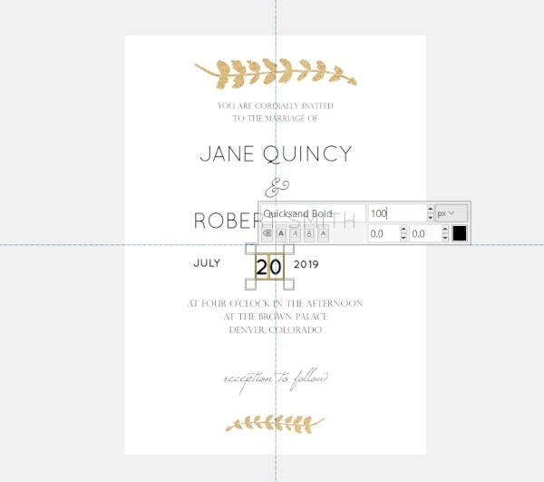 Date Text Quicksand Font Wedding Invitations GIMP