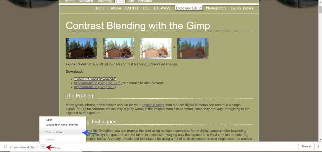 Locate Your GIMP Script Download