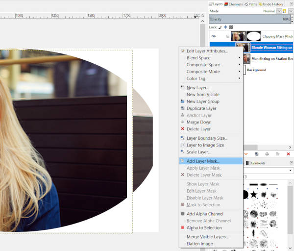 Add Layer Mask to Blonde Woman Photo Layer