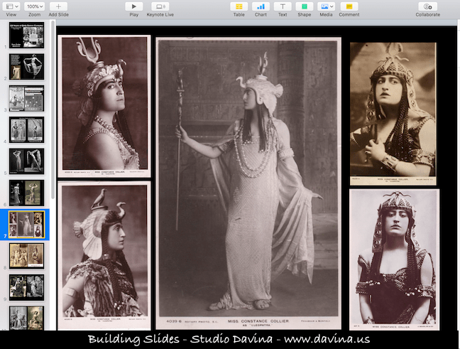 "Slide of Constance Collier from workshop ""Orientalism on Stage."""