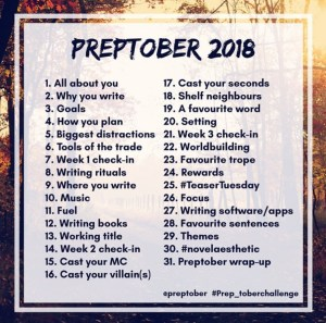 Preptober Prompts 2018 on Instagram
