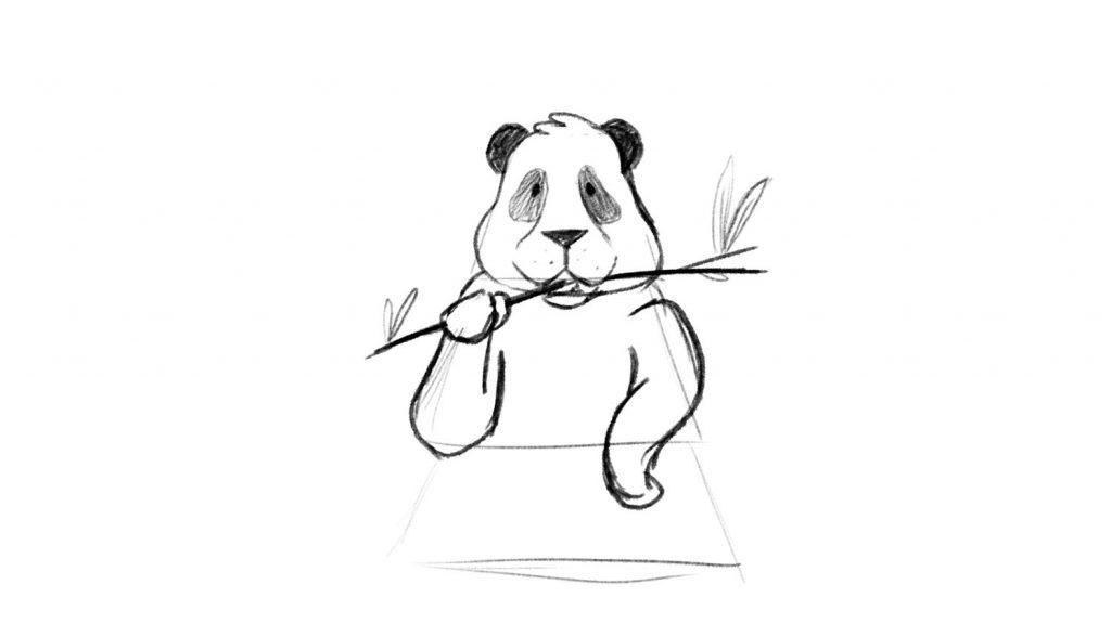 Friendly panda sketch drawing