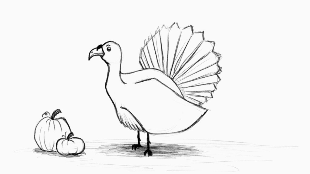 Fun and easy turkey drawing for kids