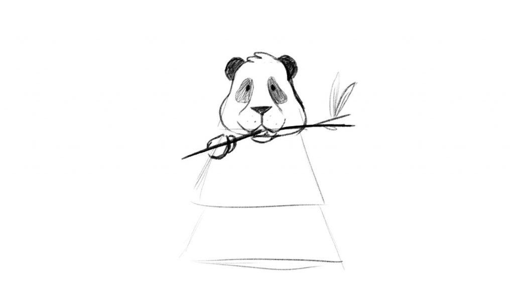 Panda eating bamboo easy drawing lesson