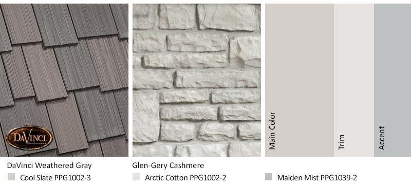 White Stone Exterior Color Schemes Davinci Roofscapes