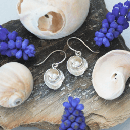DaVine Jewelry, Silver Moon Snail Shell and Freshwater Pearl Dangle Earrings