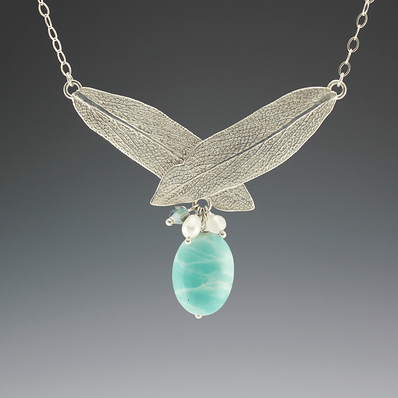DaVine Jewelry, Overlapping Sterling Silver Sage Leaves with Amazonite Stone Necklace
