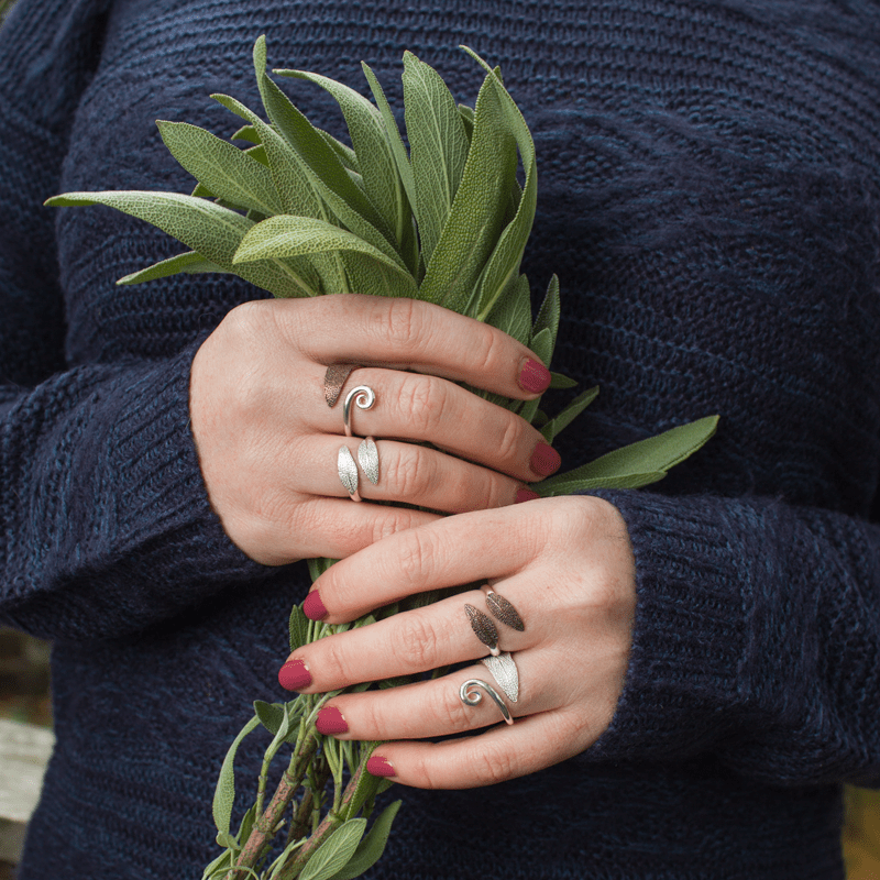 DaVine Jewelry, Sage Leaf Rings